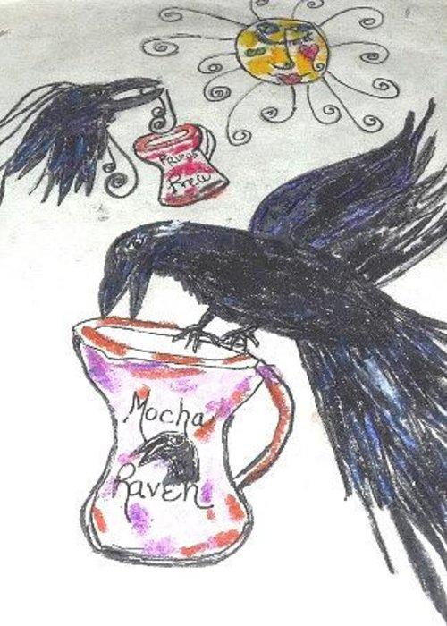 Ravens Greeting Card featuring the digital art Mocha Raven by Dawna Raven Sky