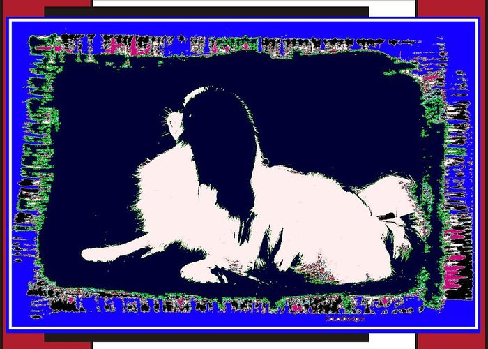 Mod Dog Greeting Card featuring the digital art Mod Dog by Kathleen Sepulveda