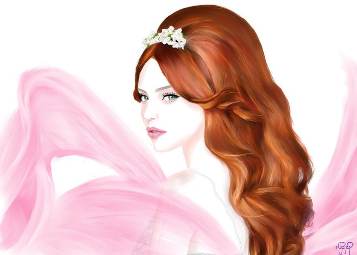 Girl. Woman Greeting Card featuring the digital art Model 24 by Nai Q