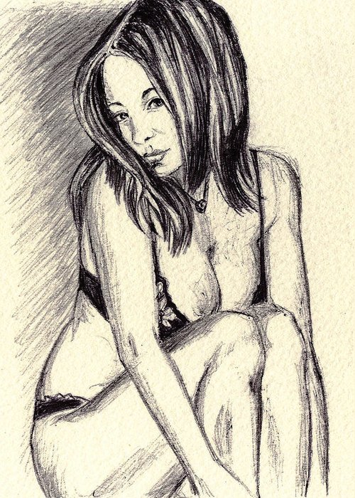 Greeting Card featuring the drawing Model Quick Drawing by Alban Dizdari