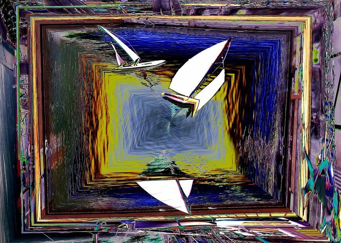 Sail Greeting Card featuring the digital art Model Sailboats by Tim Allen