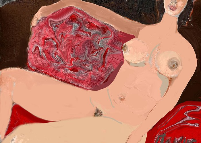 Art Greeting Card featuring the painting Modelo Valentina by Carlos Camus