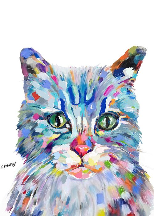Cat Greeting Card featuring the painting Modern Cat by Portraits By NC