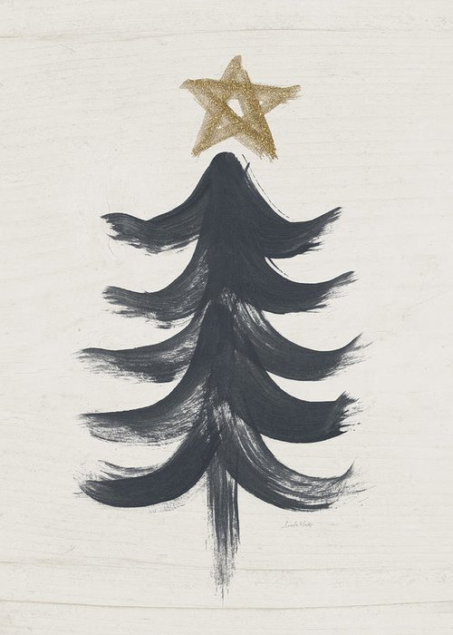Modern Primitive Black And Gold Tree 1- Art By Linda Woods Greeting Card