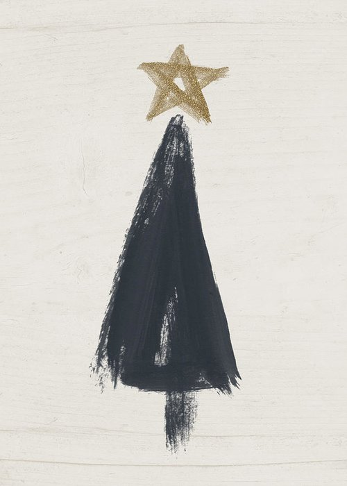 Contemporary Greeting Card featuring the painting Modern Primitive Black And Gold Tree 3- Art By Linda Woods by Linda Woods