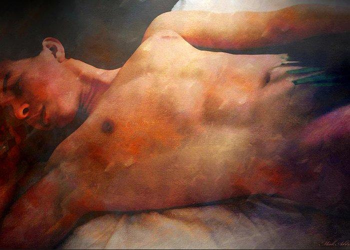 Artistic Nude Greeting Card featuring the digital art Modesto by Mark Ashkenazi