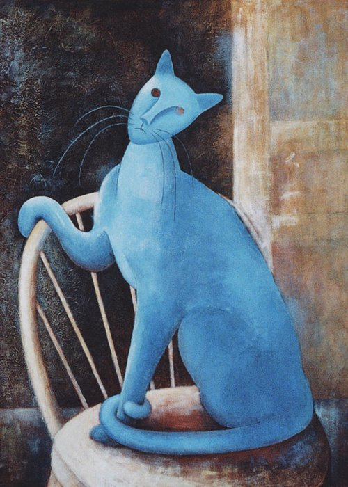 Funny Cat Art Greeting Card featuring the painting Modigliani's Cat by Eve Riser Roberts