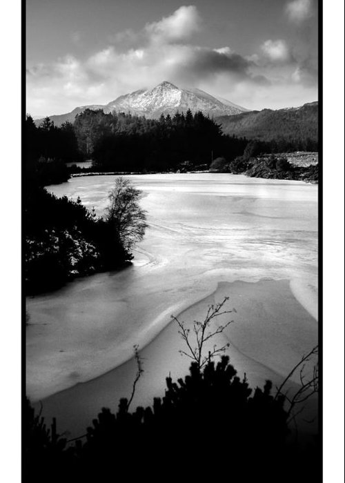 Mountain Greeting Card featuring the photograph Moel Siabod Viewed From Llyn Glangors Lake Snowdonia by Mal Bray