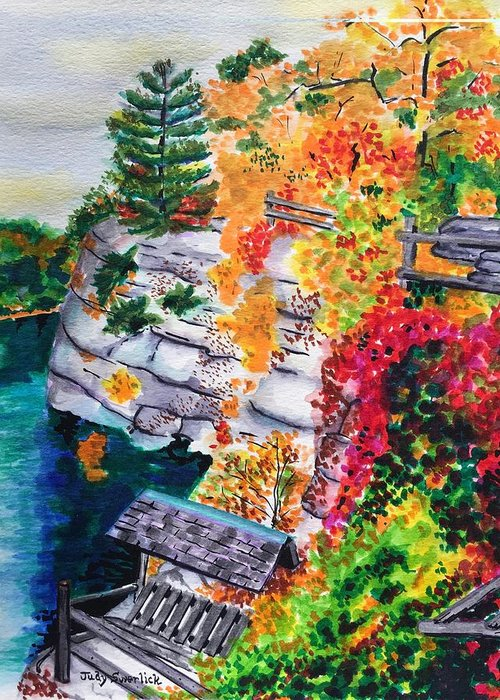 Autumn Greeting Card featuring the painting Mohonk Preserve in Autumn by Judy Swerlick