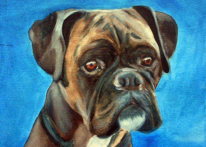 Boxer Dog Greeting Card featuring the painting Moira by Fiona Jack