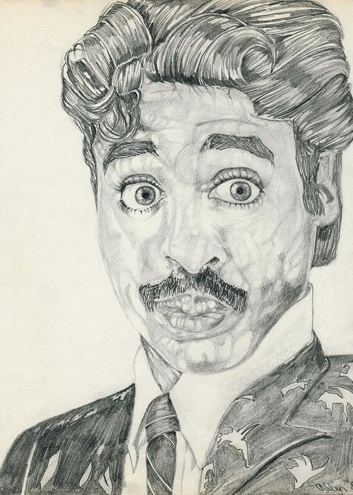 Morris Day Greeting Card featuring the drawing Mo'is Day by Allen Walters