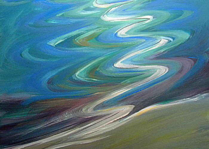 Water Greeting Card featuring the painting Molalla River Shore 1 by Pam Van Londen