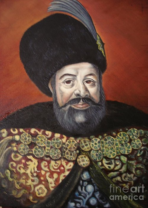 Portrait Greeting Card featuring the painting Moldavian Prince Vasile Lupu by Sorin Apostolescu
