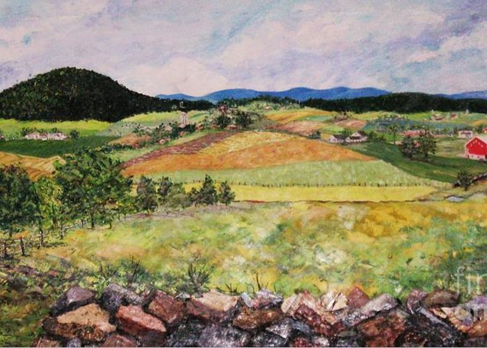 Landscape Greeting Card featuring the painting Mole Hill In Summer by Judith Espinoza