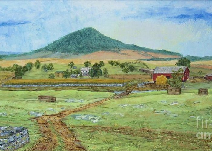 Landscape With Hill In Center Background Greeting Card featuring the painting Mole Hill Panorama by Judith Espinoza
