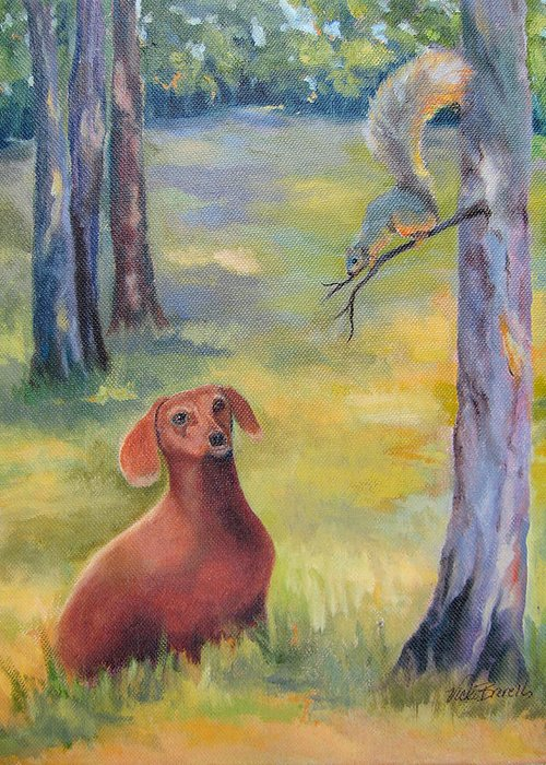 Animal Greeting Card featuring the painting Molly And The Squirrel by Vicki Brevell