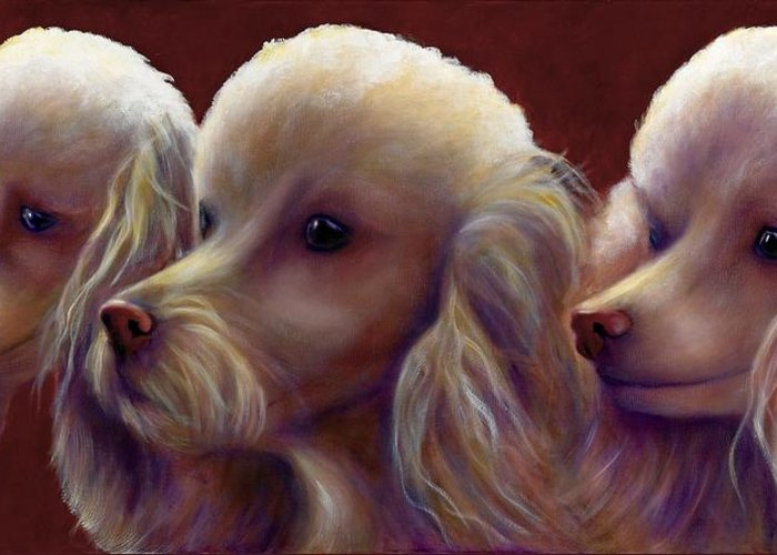 Dogs Greeting Card featuring the painting Molly Charlie And Abby by Shannon Grissom
