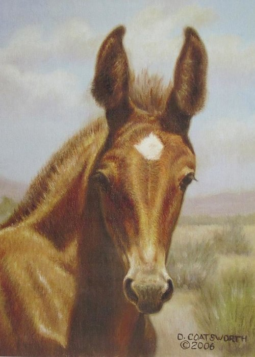 Greeting Card featuring the painting Molly Mule Foal by Dorothy Coatsworth