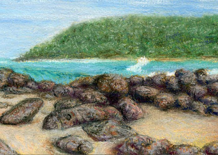 Coastal Decor Greeting Card featuring the painting Moloa'a Rocks by Kenneth Grzesik
