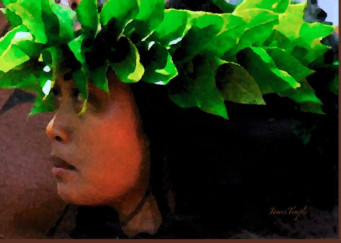 Hula Greeting Card featuring the digital art Molokai Wahine Dancer by James Temple