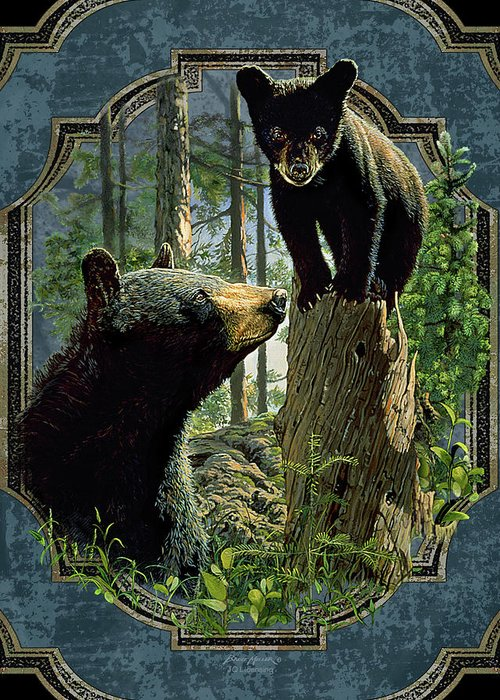 Bruce Miller Greeting Card featuring the painting Mom And Cub Bear by JQ Licensing