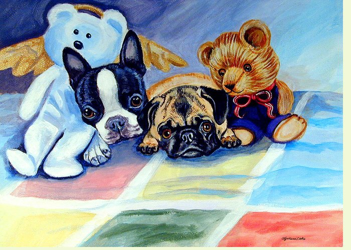 Pug Dog Greeting Card featuring the painting Mom Can She Stay Over - Pug And Boston Terrier by Lyn Cook