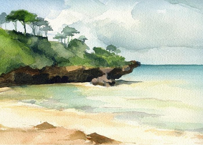 Landscape Greeting Card featuring the painting Mombasa Beach by Stephanie Aarons