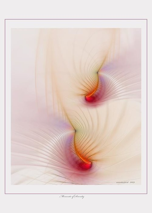 Fractal Greeting Card featuring the digital art Moments Of Serenity by Gayle Odsather