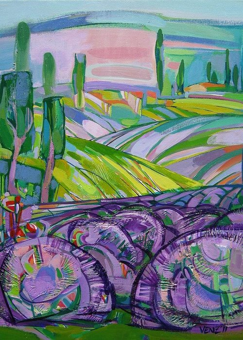 Lavender Greeting Card featuring the painting Moments Xiii by Venz Vesselinov