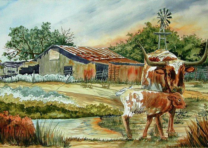 Longhorns Greeting Card featuring the painting Momma Longhorn And Calf by Ron Stephens