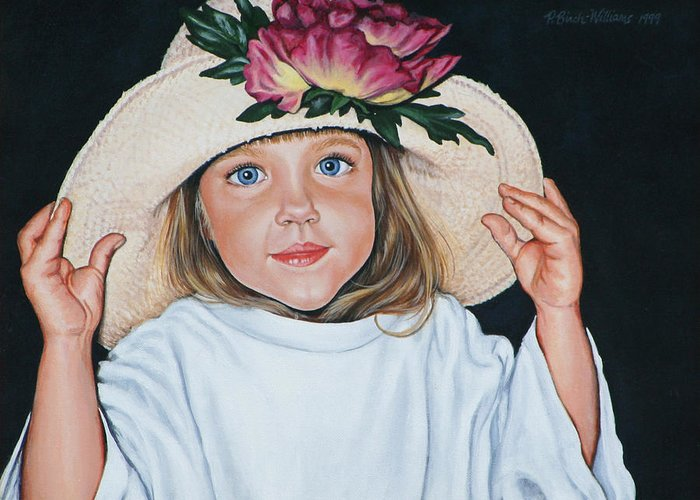 Portrait Greeting Card featuring the painting Mommy's Hat by Penny Birch-Williams