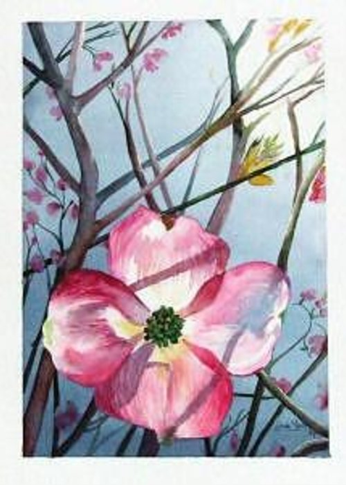 Dogwood Greeting Card featuring the painting Mom's Dogwood by Linda Marie Carroll