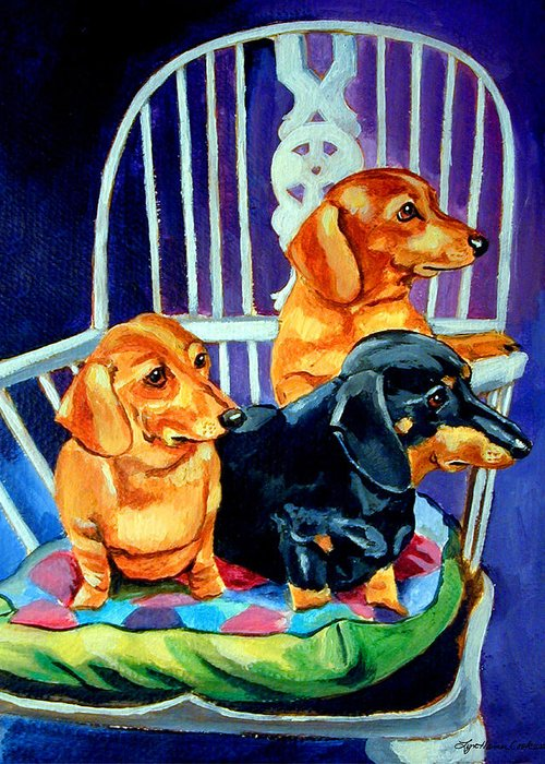 Dachshund Dog Greeting Card featuring the painting Mom's In The Kitchen - Dachshund by Lyn Cook