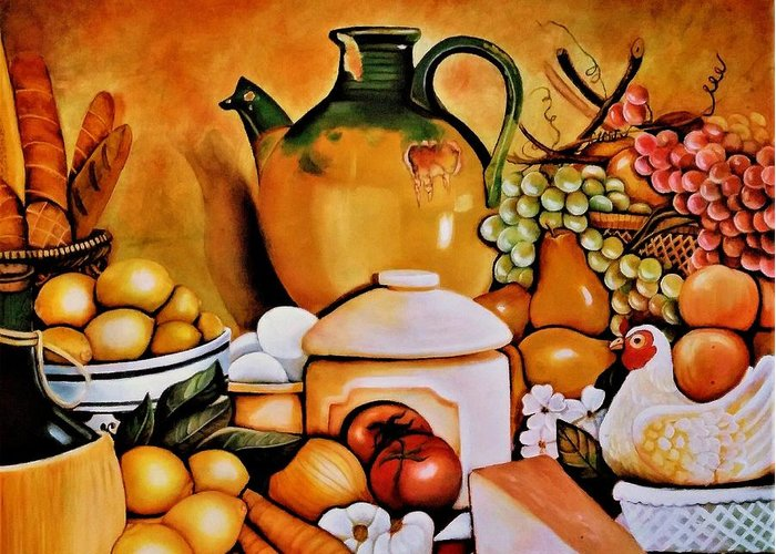 Still Life Greeting Card featuring the painting Mom's Kitchen by Dalgis Edelson