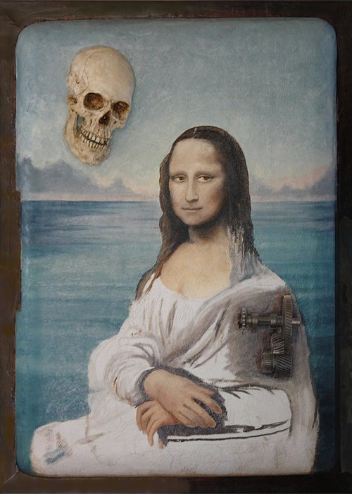 Painting Realistic Greeting Card featuring the painting Mona In Playa by Angel Ortiz