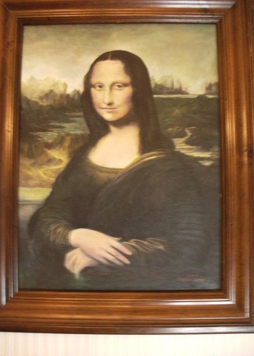 Mona Lisa Greeting Card featuring the painting Mona Lisa After Da Vinci by Anne-Elizabeth Whiteway
