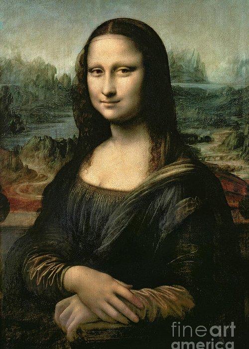 Mona Greeting Card featuring the painting Mona Lisa by Leonardo da Vinci