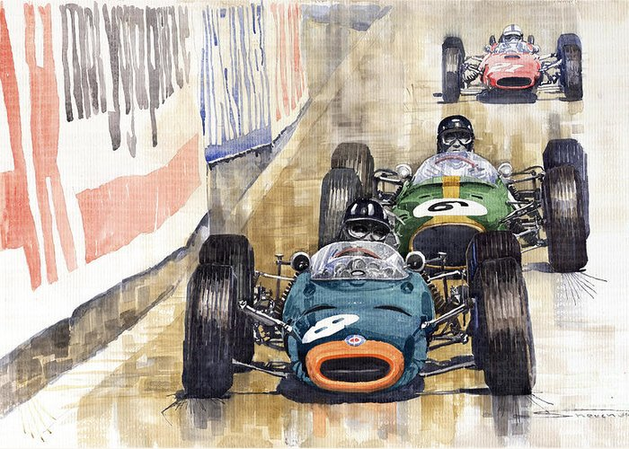 Watercolour Greeting Card featuring the painting Monaco Gp 1964 Brm Brabham Ferrari by Yuriy Shevchuk