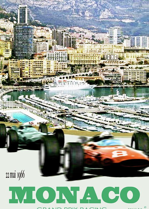 Monaco Greeting Card featuring the mixed media Monaco Grand Prix Racing Poster - Original Art Work by Thomas Pollart