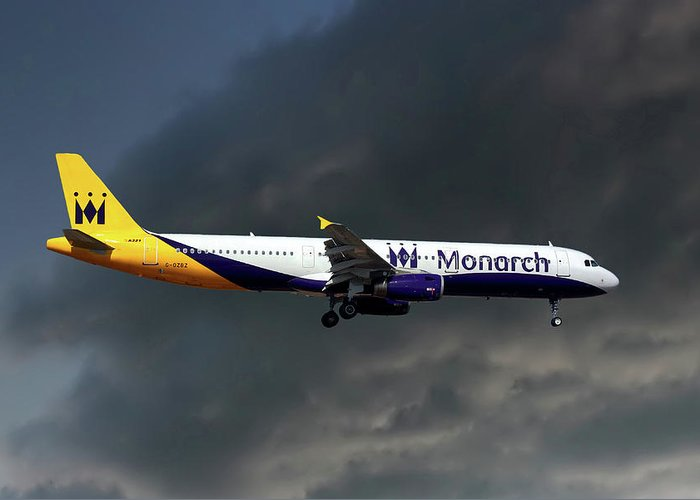 Monarch Airlines Greeting Card featuring the photograph Monarch Airlines Airbus A321-231 by Smart Aviation