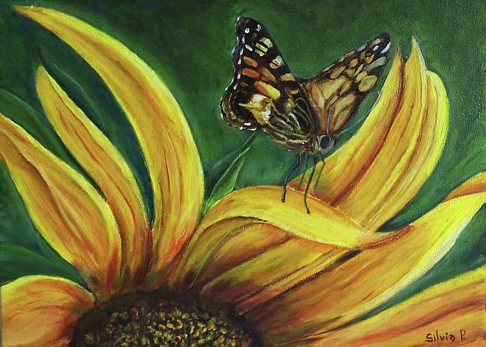 Butterfly Greeting Card featuring the painting Monarch Butterfly On A Sunflower by Silvia Philippsohn