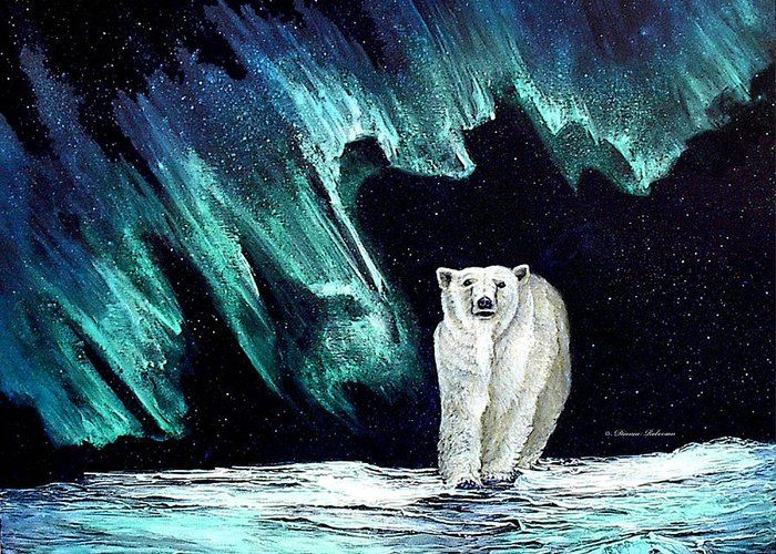 Bear Greeting Card featuring the painting Monarch Of His Arctic Domain by Dianne Roberson