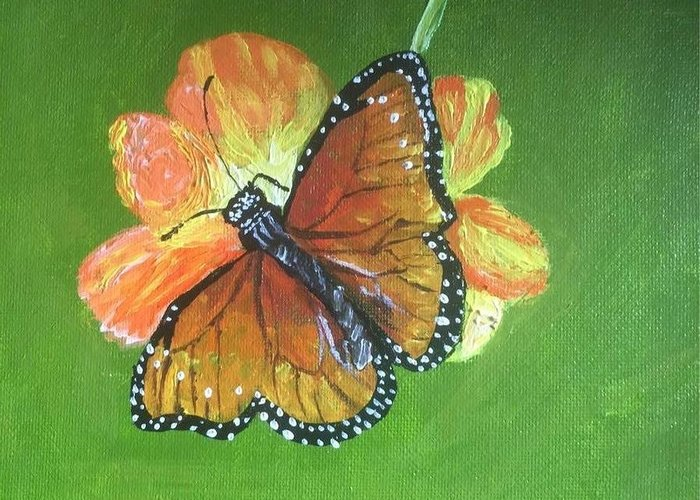 Monarch Greeting Card featuring the painting Monarch by Tabitha Brown