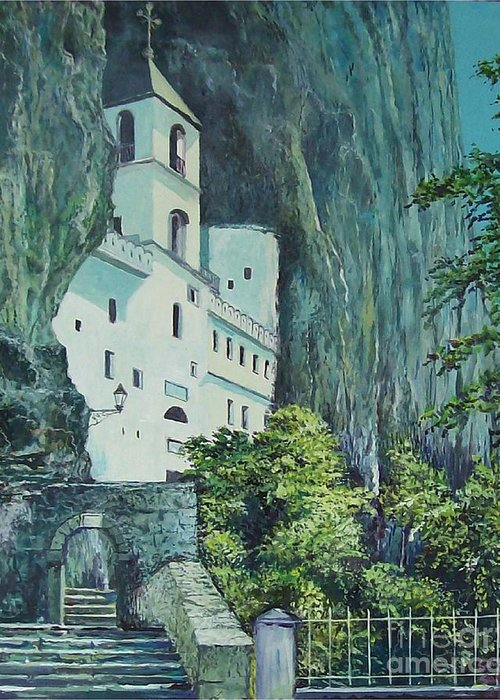 Architecture Greeting Card featuring the painting Monastery Ostrog Montenegro by Sinisa Saratlic