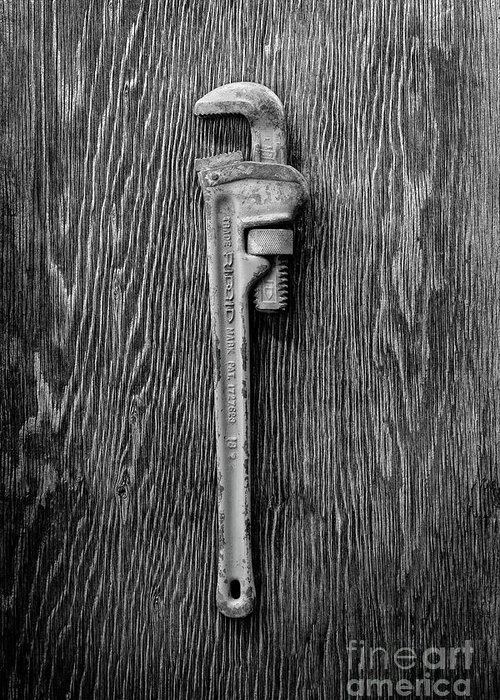 Antique Greeting Card featuring the photograph Moncky Wrench Bw by YoPedro