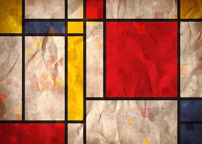 Mondrian Greeting Card featuring the digital art Mondrian Inspired by Michael Tompsett