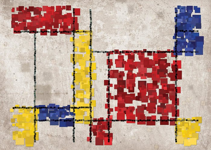 Mondrian Greeting Card featuring the digital art Mondrian Inspired Squares by Michael Tompsett