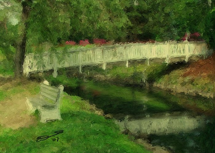 Red Water White Park Green Painting Bridge Pond Oil Bench Impressionism Monet Greeting Card featuring the painting Monet's Bridge by Eddie Durrett
