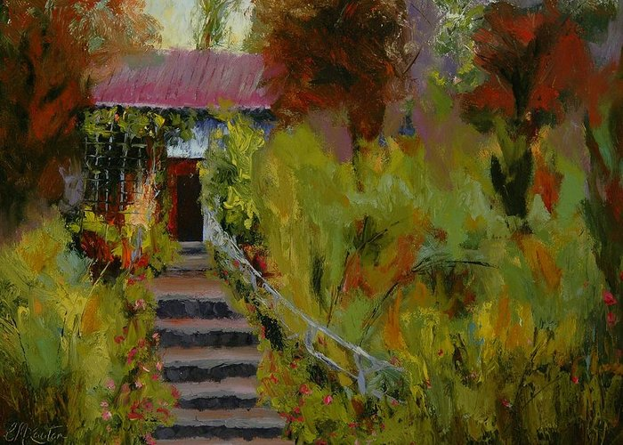 Landscape (framed) Greeting Card featuring the painting Monet's Garden Cottage by Colleen Murphy