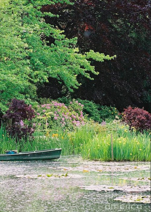 Monet Greeting Card featuring the photograph Monet's Garden Pond And Boat by Nadine Rippelmeyer